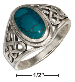Sterling Silver Oval Simulated Chrysocolla Ring With Open Celtic Weave | Jewelry Store