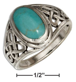 Sterling Silver Oval Simulated Blue-Green Stone Ring With Open Celtic Weave | Jewelry Store