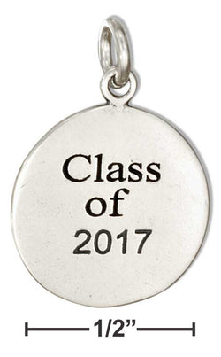 "Sterling Silver Round ""Class Of 2017"" Charm 
