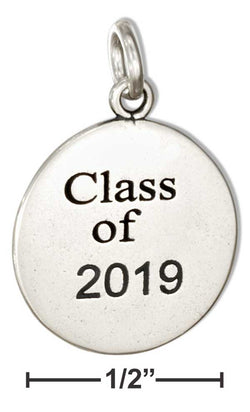 "Sterling Silver Round ""Class Of 2019"" Charm 