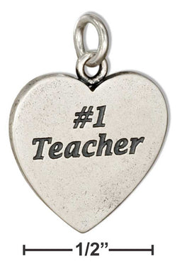"Sterling Silver Heart Shape ""#1 Teacher"" Message Charm 