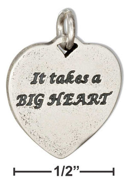"Sterling Silver Heart Shape ""It Takes A Big Heart"" ""To Teach Little Minds"" Charm 