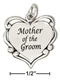"Sterling Silver ""Mother Of The Groom"" Heart Message Charm With Scrolls 