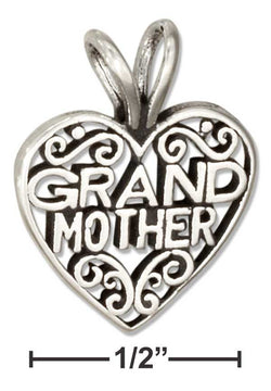 "Sterling Silver Filigree Heart With ""Grandmother"" Message Pendant 