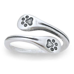 Sterling Silver Wrapped Around My Finger Wrapped Double Dog Paw Print Ring | Jewelry Store