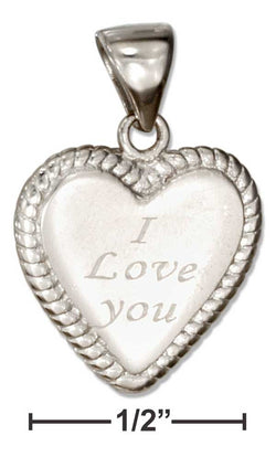 "Sterling Silver Heart Shape ""I Love You"" Message Pendant 