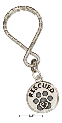 "Sterling Silver Paw Print ""Rescued"" Tag On Stainless Steel Teardrop Key Ring 