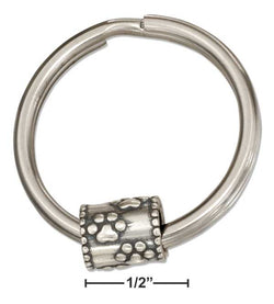 Sterling Silver Paw Prints Slider Bead On Stainless Steel Key Ring | Jewelry Store