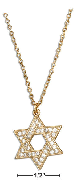 "Sterling Silver 16""-18"" Adjustable Gold Tone Pave Cubic Zirconia Jewish Star Of David Necklace 