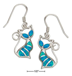 Sterling Silver Synthetic Blue Opal Cat Earrings | Jewelry Store