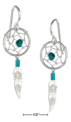 Sterling Silver Simulated Turquoise Dreamcatcher Earrings With Feather | Jewelry Store