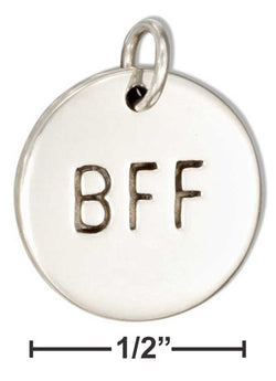 "Sterling Silver Round Best Friends Forever ""Bff"" Message Charm 