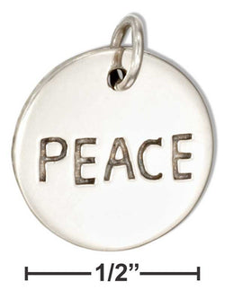 "Sterling Silver Round ""Peace"" Message Charm 