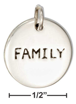 "Sterling Silver Two Sided Round ""Family"" ""Domus"" Message Charm 