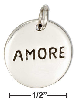 "Sterling Silver Two Sided Round ""Amore"" ""Love"" Message Charm 