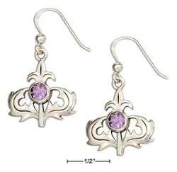 Sterling Silver Scottish Thistle Earrings With Amethyst | Jewelry Store