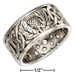Sterling Silver Filigree Scottish Thistle Band Ring With Celtic Knots | Jewelry Store