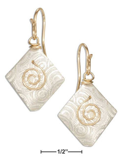 Sterling Silver And 12 Karat Gold Filled Diamond Shaped Spiral Dangle Earrings | Jewelry Store