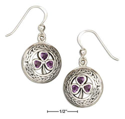 Sterling Silver Round Celtic Knot Earrings With Amethyst Shamrocks | Jewelry Store