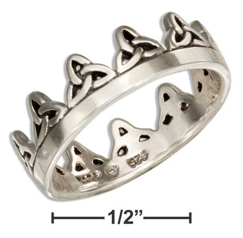 Sterling Silver Celtic Triquetra Trinity Knot Crown Ring | Jewelry Store