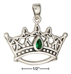 Sterling Silver Celtic Triquetra Trinity Knot Crown Pendant With Green Glass | Jewelry Store