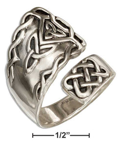 Sterling Silver Fancy Celtic Spoon Ring With Trinity Knots | Jewelry Store