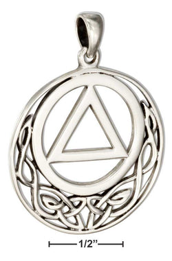 Sterling Silver Round Aa Recovery Symbol Pendant With Celtic Knots | Jewelry Store