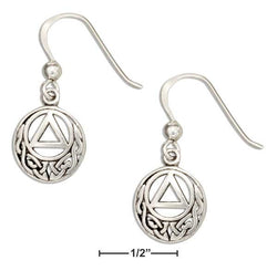 Sterling Silver Round Aa Recovery Symbol Earrings With Celtic Knots | Jewelry Store