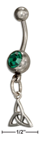 Sterling Silver And Surgical Steel Trinity Knot Belly Button Ring With Green Glass | Jewelry Store