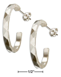Sterling Silver Faceted Design Hammered 23mm 3/4 Hoop Earrings On Posts | Jewelry Store