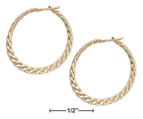 12 Karat Gold Filled 16mm Flat Celtic Weave Hoop Earrings | Jewelry Store