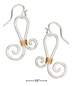 Sterling Silver And 12 Karat Gold Filled Curly Design Dangle Earrings | Jewelry Store