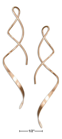 "14 Karat Rose Gold Filled 2"" Spiral Streamer Curly Wire Earrings 