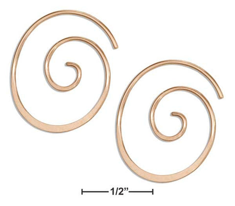 14 Karat Rose Gold Filled 22mm Curly Spiral Threader Wire Hoop Earring | Jewelry Store