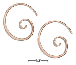 14 Karat Rose Gold Filled 24mm Curly Spiral Threader Wire Hoop Earring | Jewelry Store