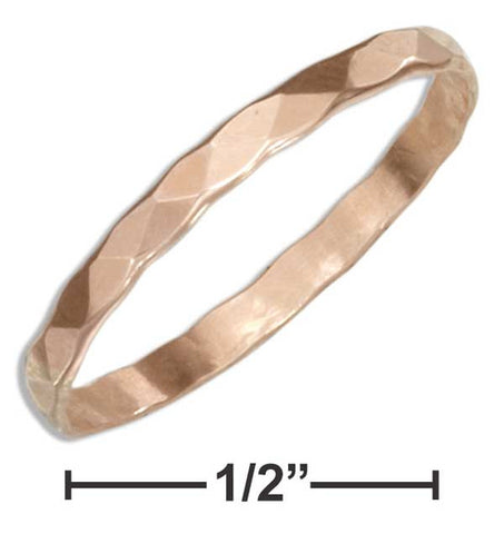12 Karat Rose Gold Filled 2mm Flat Hammered Wedding Band Ring | Jewelry Store
