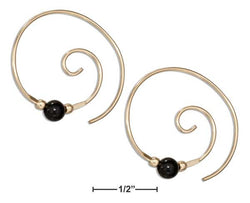 12 Karat Gold Filled Curly Swirl Spiral Ear Threader With Black Onyx | Jewelry Store