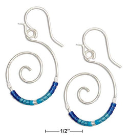 Sterling Silver Round Spiral Dangle Earrings With Blue Glass Seed Beads | Jewelry Store