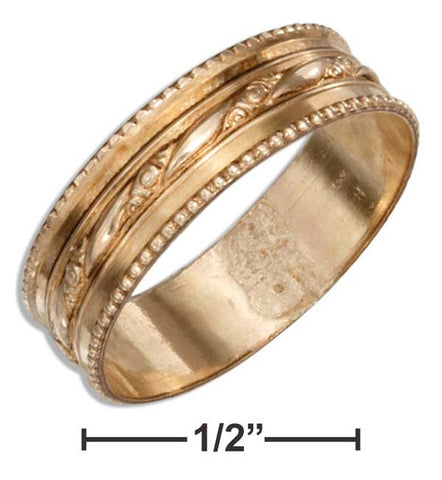 12 Karat Gold Filled Wedding Band Ring With Floral Stripe & Beaded Edges | Jewelry Store
