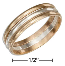 Sterling Silver And 12 Karat Gold Filled Triple Band Wedding Band Ring | Jewelry Store