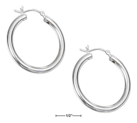 Sterling Silver 30mm Tubular Hoop Earrings With French Locks | Jewelry Store
