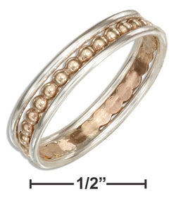 Sterling Silver Band Ring With 12 Karat Gold Filled Beaded Center | Jewelry Store