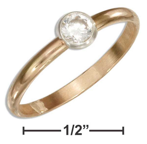 12 Karat Gold Filled 2mm Band With Clear Round Cubic Zirconia | Jewelry Store