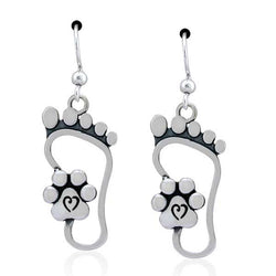 Sterling Silver I Will Never Walk Alone Foot Print Paw Print Dangle Earrings | Jewelry Store