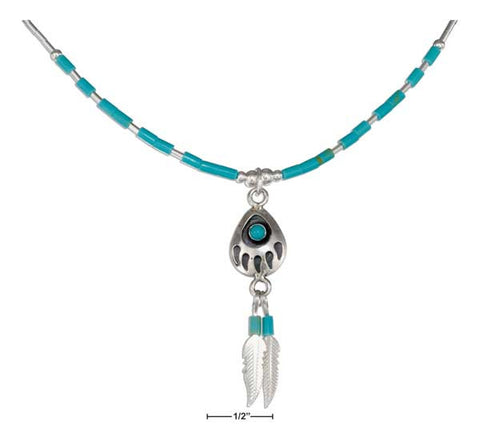 "Sterling Silver 16"" Liquid Silver Simulated Turquoise Bearpaw & Feathers Necklace 