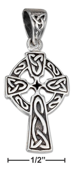 Sterling Silver Antiqued Celtic Cross Pendant With Trinity Knots | Jewelry Store