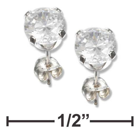 Sterling Silver 4mm Round Cubic Zirconia Post Earrings | Jewelry Store