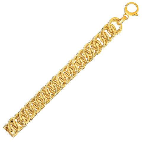 Reversible Textured Link Bracelet in 14K Yellow Gold
