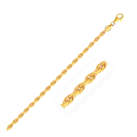 2.75mm 10K Yellow Gold Solid Diamond Cut Rope Chain