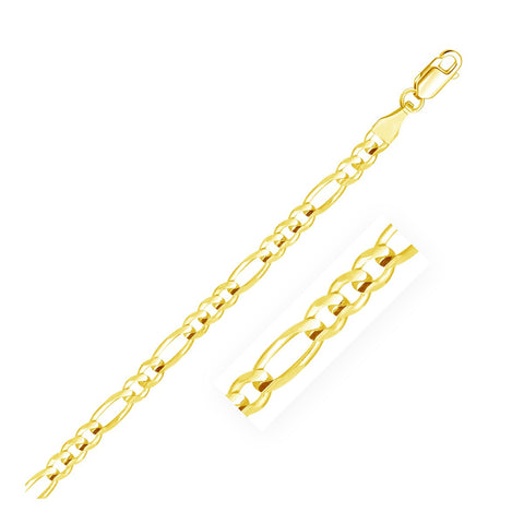 4.5mm 14K Yellow Gold Solid Figaro Bracelet